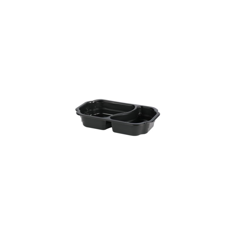 Barquette scellable polypropylène 2 compartiments HMR noir 215 x 148 x 41 mm - 500/400 ml