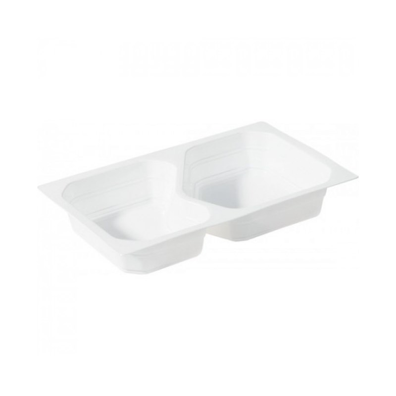 Barquette scellable PP 1/4 GN blanc 2 compartiments 263 x 161 x 43 mm 630/490 ml