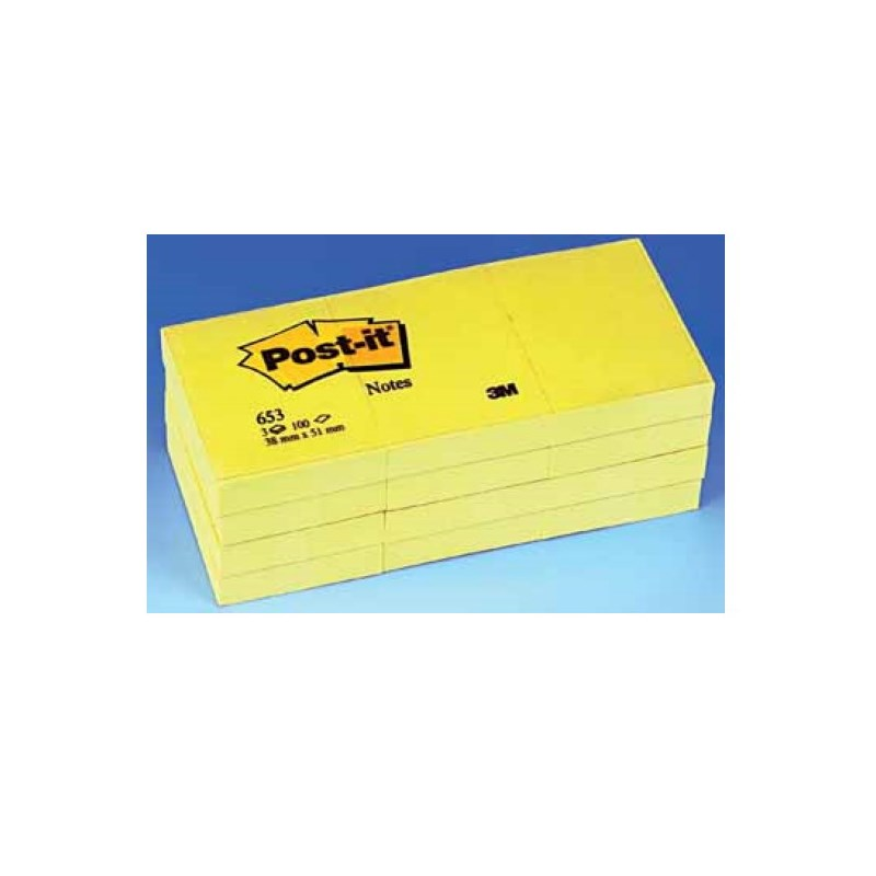 Bloc mémo Post-It 38 x 51 mm jaune 3M